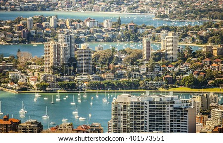 Suburbs and the harbour in Sydney, Australia - stock photo