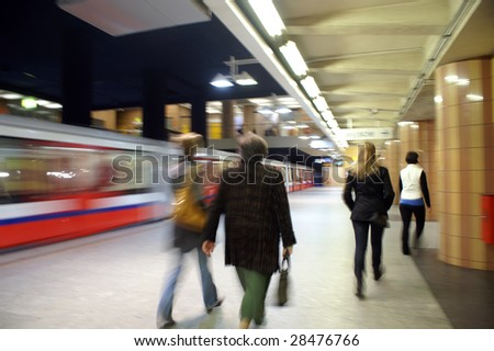 Subway arriving at station Center  from Warsaw - stock photo