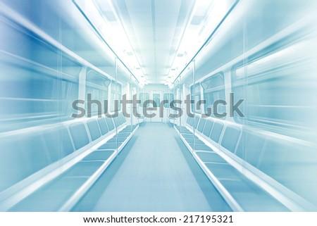 subway car motion blur empty - stock photo