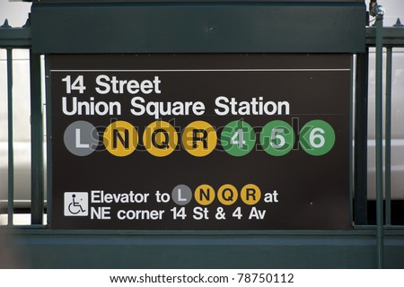 subway entrance for the Union Square station in New York City. - stock photo