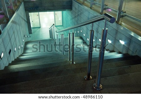Subway entrance stairs - stock photo