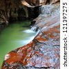 Subway Falls, Zion National Park - stock photo