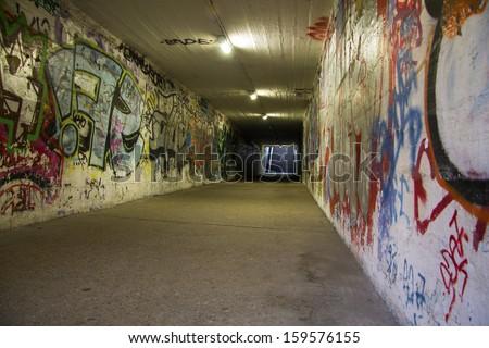 Subway graffiti wall - stock photo