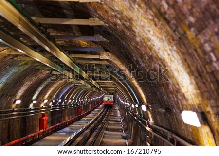 Subway in Galata hill at Istanbul Turkey - transportation background - stock photo