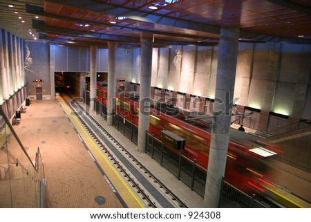 Subway Leaving the Station - stock photo