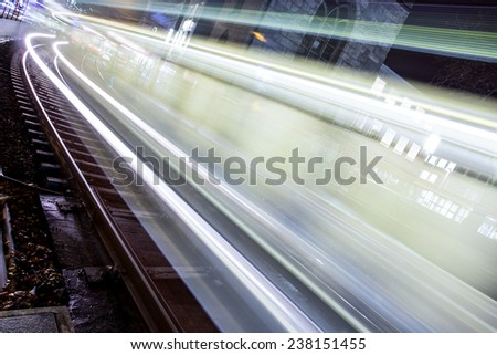subway lights at night - stock photo