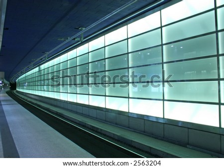 Subway lights on the train station from Potsdamer Platz, Berlin - stock photo