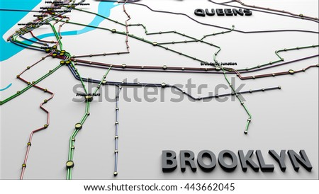 Subway Lines and Stations of New York City subways Brooklyn Queens 3D IllustrationThis is NOT the official NYC Subway map. - stock photo
