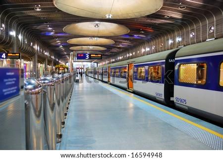 subway platform of Auckland Transport Center, New Zealand - stock photo