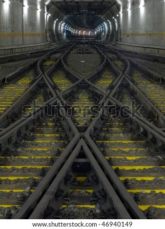 subway railway perspective - stock photo