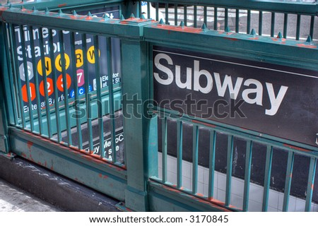 Subway sign -  Times Square - Manhattan,New York City, United states of America - stock photo