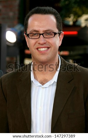 "Subway spokesman Jared S. Fogle  arriving at the Premiere of ""Get Smart""  at Mann's Village Theater in Westwood, CA June 16, 2008 - stock photo"