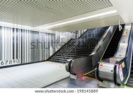 Subway stairs - stock photo