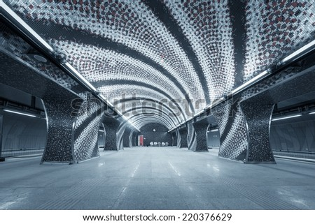 Subway station in a big city with no people - stock photo