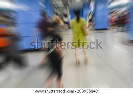 Subway station in the flow of the population - stock photo