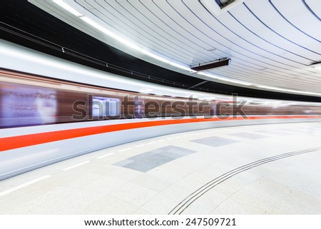 Subway station in the Prague on the long exposure
