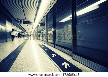 Subway station interior. Wide angle view. - stock photo