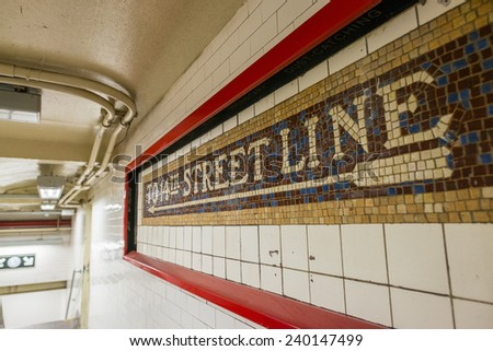 Subway station signs and directions, New York. - stock photo