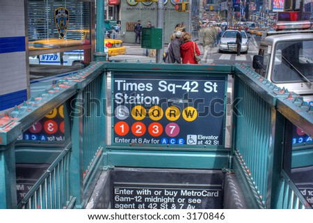 Subway station- Times Square - Manhattan,New York City, United states of America - stock photo