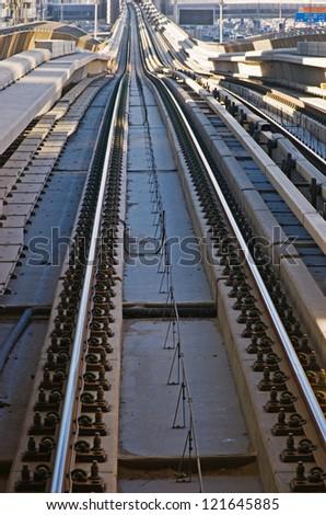 subway tracks - stock photo