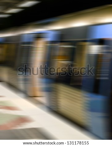 Subway train in motion blur - stock photo