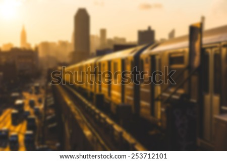 Subway Train in New York at Sunset. Blurred Background. - stock photo