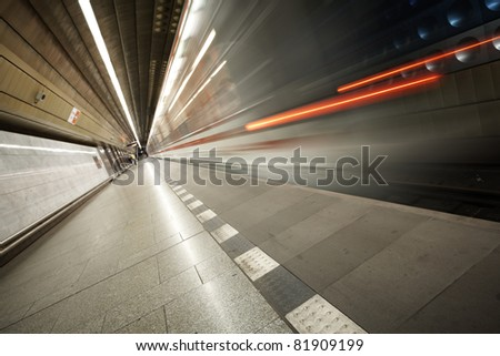 Subway train is in station, Prague - stock photo