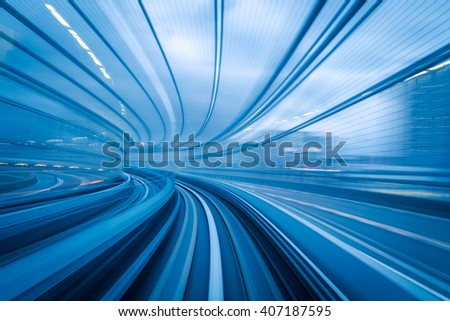 Subway tunnel with Motion blur of a city from inside, great for your design - stock photo