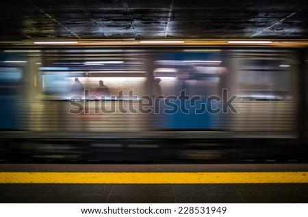 subway underground station waiting train passengers carriage   - stock photo