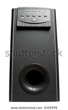 subwoofer isolated on white - stock photo