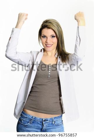 succes blond happy woman - stock photo