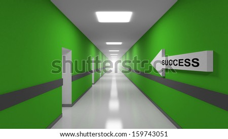 Success abstract 3d metaphor illustration. Green office corridor interior with text label on white arrow - stock photo