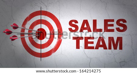 Success advertising concept: arrows hitting the center of target, Red Sales Team on wall background, 3d render - stock photo