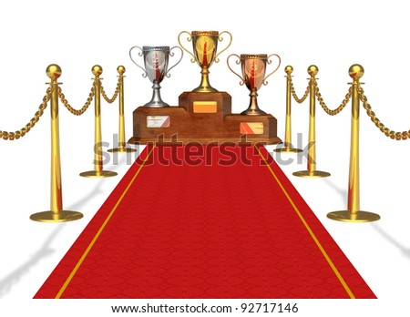 Success and achievement concept: trophy cups on pedestal and red carpet isolated on white background