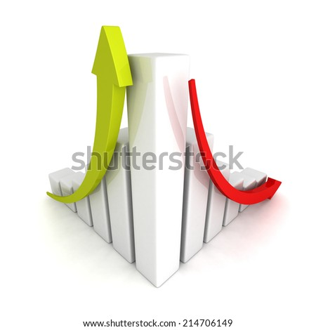 success and crisis financial bar chart with up and down arrow. 3d render illustration - stock photo