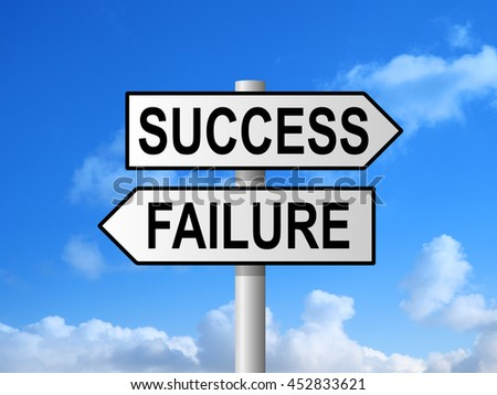 Success and failure choice sign post against blue sky