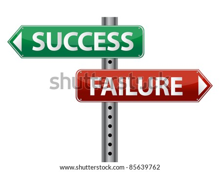 Success and failure signpost on white - stock photo