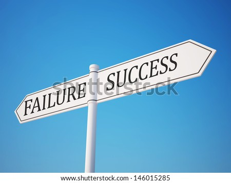 Success and Failure Signpost with Clipping Path