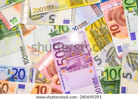 Success and got profit from business with colorful of Euro currency,money banknotes