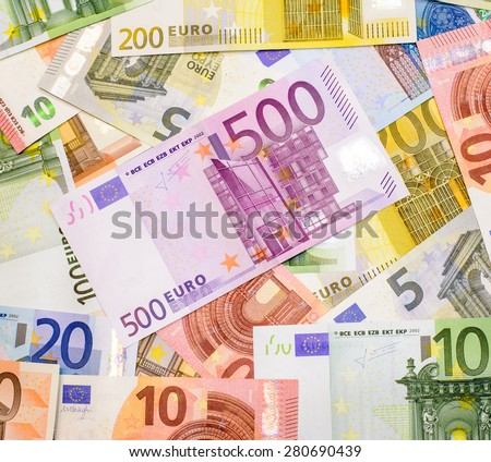 Success and got profit from business with colorful of Euro currency,money banknotes - stock photo