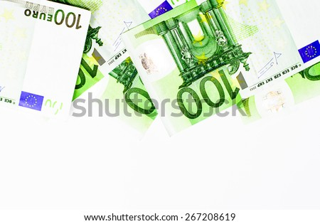 Success and got profit from business with hundred euro banknote on white background - stock photo