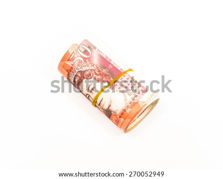 Success and got profit from business with roll colorful of English pound currency,money banknote on white background - stock photo
