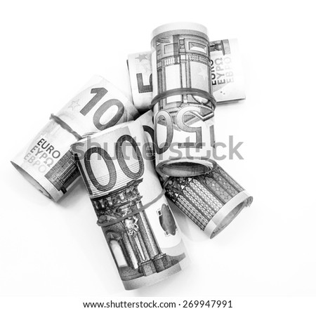 Success and got profit from business with roll of Euro currency,money banknote on white background also with black and white color - stock photo