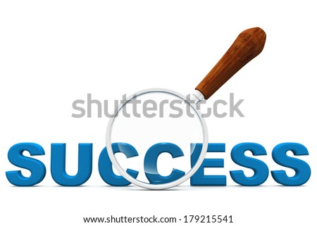 success and magnifying glass - stock photo