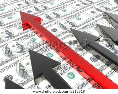 Success arrow in the money background - stock photo