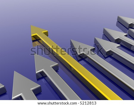 Success arrow isolated in the blue background - stock photo