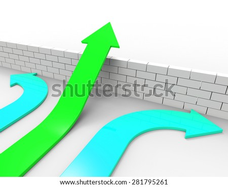 Success Arrow Showing Challenges Ahead And Obstruction - stock photo