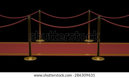 success. Barrier rope and red carpet isolated on black background High resolution 3D - stock photo