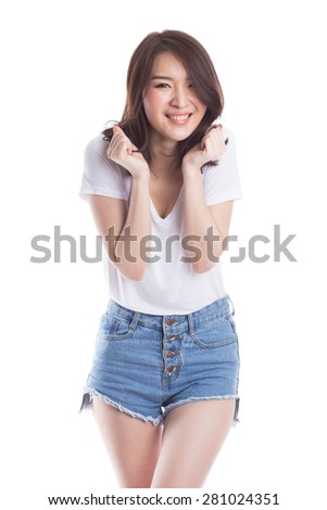 Success beautiful young woman celebrating isolated on white background. - stock photo