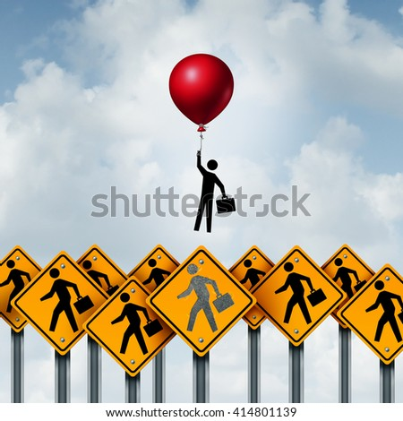 Success business and successful businessperson metaphoric corporate concept as a group of signs with an individual person breaking free with the support of a balloon with 3D illustration elements. - stock photo